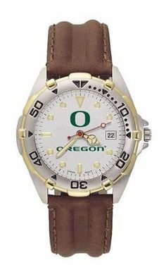 Oregon All Star Mens (Leather Band) Watch Logo Art. $87.72. Brushed chrome finish brass case, two-tone rotating top ring and screw-down back. Two-tone stainless steel bracelet or ribbed leather strap with steel stainless buckle. Silver dial with raised luminous hour indexes with mineral crystal. Water resistant sport watch. Miyota quartz movement with date (#377 battery). Save 18% Off!