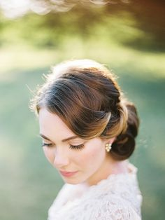 Wedding Hairstyle ~ Vintage styled sleek updo with neutral make-up