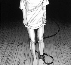 this picture is so simple but yet has so much meaning to it. to me it symbolizes how depression is always hanging around (the cuff around her ankle). you feel alone (empty room around her). self harm (the bandage around her arm).