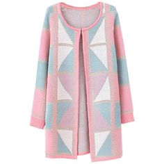 Chicnova Fashion Retro Gold Thread Geometric Patterns Long Cardigan ($23) ❤ liked on Polyvore featuring tops, cardigans, outerwear, coats, jackets, gold cardigan, pink cardigan, open front cardigan, retro tops and pink top
