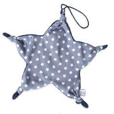Doudou étoile attache tétine noeud gris bleu marine étoilé