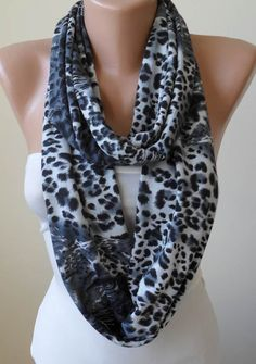 Gift - Valentine's Day - Gray Leopard Infinity Scarf - Jersey Fabric. $17.90, via Etsy.