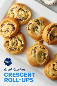 Greek Chicken Crescent Roll-Ups Pillsbury Crescent Recipes, Pillsbury Dough, Crescent Roll Recipes, Chicken Spinach Mushroom, Spinach Stuffed Mushrooms, Spinach Stuffed Chicken, Chicken Crescent Rolls, Crescent Roll Dough, Yogurt Chicken