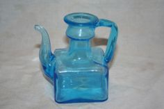 Vintage Blue Square Glass Pitcher Art Glass or Decanter