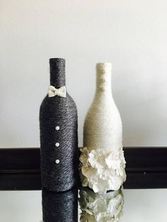 Congratulations to the newly engaged couple! These wine bottles are wrapped in charisma yarn and polished off with embellishments to represent the bride and groom. Display them at your engagement party, bridal shower and wedding! The price reflects ONE wine bottle so you can choose what fits your needs. If you select the bride and groom, you will receive one of each bottle, just like the pictures. If you would like to request any other color, please select special request at checkout and I…