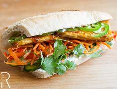 Vegan Teriyaki Tofu, Avocado and Jalapeño Bánh Mì- oh my gosh these are amazing!!! ACL 2012