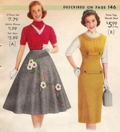 1950s Skirt History: Cirlce, Poodle, Pencil Styles. 1957 Full and Sheath Skirt Silhouettes.  http://www.vintagedancer.com/1950/1950s-fashion-history-skirts/