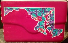 Girly Cooler Maryland Lilly Print Inside State Outline
