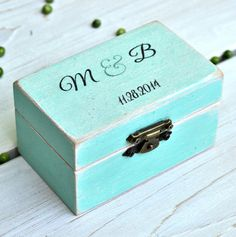 A romantic rustic wedding ring box for a wonderful couple !  This wooden ring box is distressed for a vintage feel. The couples initials and wedding