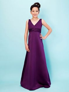0957134bd A-Line / Princess V Neck Floor Length Satin Junior Bridesmaid Dress with  Sash / Ribbon / Ruched by LAN TING BRIDE® / Empire / Spring / Summer / Fall  / Apple