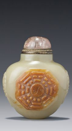 A YELLOW AND RUSSET JADE 'EIGHT TRIGRAMS' SNUFF BOTTLE QING DYNASTY, 18TH / 19TH CENTURY