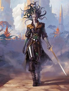 Illustration done for Magic the Gathering. Vraska, Scheming Gorgon - Magic the Gathering Fantasy Races, High Fantasy, Fantasy Rpg, Medieval Fantasy, Fantasy Artwork, Dnd Characters, Fantasy Characters, Female Characters, Fantasy Character Design