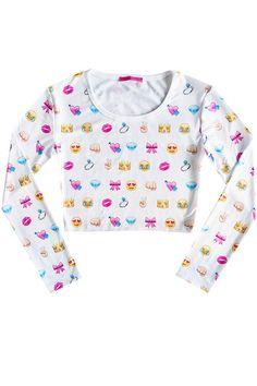 fe29c22f45825 EMOJI CROP TOP long sleeve tank t shirt womens ladies by MLSHOPSS Emoji  Crop Top