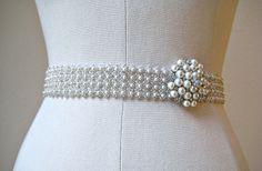 beaded sashes | Bridal wedding beaded pearl/crystal sash/belt . Luminious Jewel Pearl
