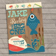 Fishing First Birthday Party Invitations Details This Fishing Birthday invitation is perfect for any future fisherman's first birthday! Colors and wording can be customized however you like. Boys First Birthday Party Ideas, Birthday Themes For Boys, Baby Boy First Birthday, First Birthday Invitations, Boy Birthday Parties, Birthday Banners, Farm Birthday, Frozen Birthday, 60th Birthday