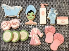 Cookies for a Mom's Weekend Spa Day basket silent auction benefiting the Make A Wish Foundation. Spa Cookies, Mother's Day Cookies, Iced Sugar Cookies, Fancy Cookies, Cute Cookies, Royal Icing Cookies, Cupcake Cookies, Cookies Et Biscuits, Cupcakes