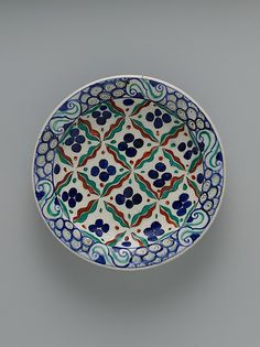 "The pattern of this charming dish is a variant of the so‑called chintamani (Sanskrit for ""auspicious jewel"") design. Appearing on ceramics as well as on carpets and textiles, this pervasive design originated in Buddhist iconography Glazes For Pottery, Ceramic Pottery, Pottery Art, Turkish Art, Turkish Tiles, Ceramic Tableware, Tiger Stripes, Ceramic Painting, Tile Art"