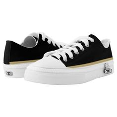 (Black with Gold and White Trim Lo-Top Printed Shoes) #Athletic #Black #BlackAndGold #BlackAndOldGold #BlackGoldAndWhite #Canvers #ColorCombination #Daps #Designer #Footwear #GoldAndWhiteStripe #GoldAndWhiteTrim #Gutties #Gym #Kicks #LoTops #Plimsoles #Plimsolls #Runners #Striped #Takkies #Tennies #Tennis #Trainers #WalkAMile #WalkInStyle is available on Funny T-shirts Clothing Store   http://ift.tt/2fFjfMO