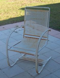 Vintage Lloyd Loom Wicker Iron Bouncy Patio Lawn Chairs