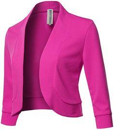 Solid Sleeves Open Front Bolero Blazer - Made in USA Fuchsia Blazer Outfits, Blazer Fashion, Blazer Dress, Blazer Pattern, Jacket Pattern, African Wear, African Fashion, Jackets For Women, Clothes For Women