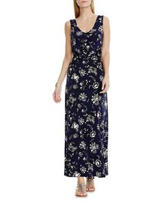 Vince Camuto Wood Block Floral Gown Women's Navy X-Small