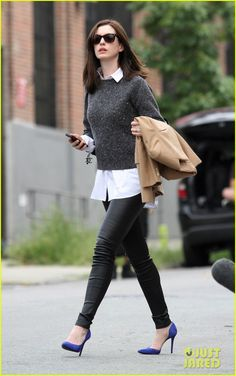 Anne Hathaway looks like she's in shock while filming a scene for her upcoming movie The Intern on Monday (August 11) in the Bronx borough of New York City.   …