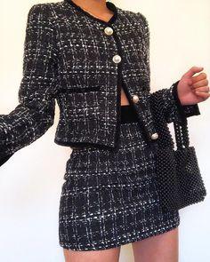 Tweed Jacket & Mini Skirt Set - Just Shop Mode Outfits, Fall Outfits, Fashion Outfits, Look Fashion, Runway Fashion, Womens Fashion, Chic Fall Fashion, Petite Fashion, Curvy Fashion