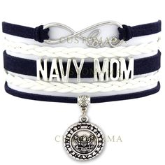(10 PCS/Lot) Infinity Love United States Navy Mom Navy Wife Anchor Charm Bracelets For Women Gold Suede Leather Wrap Bracelets