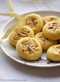 Indian Cuisine: Eggless Saffron Cookies Recipe ~ Diwali Special Eggless Cookies