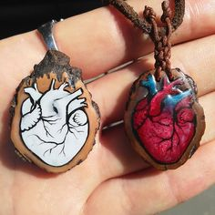 Anatomical Heart Painting   #hearts #anatomicalheart #heart #nut #wot #heartinnut #handmade #micropainting #workinprogress #heartpendant #pendant #fattoamano #cuore #cuoreanatomico #mallodinoce #item #items #heartitem #wooden #object #art Heart Painting, Anatomical Heart, Juglans Nigra, Washer Necklace, Cufflinks, Objects, Pendant, Instagram Posts, Hearts
