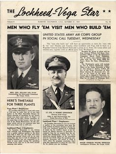 """Cover of The Lockheed-Vega Star newsletter, October 31, 1941. This issue includes the cover story, """"Men who Fly 'em Visit Men who Build 'em, about a group of 27 Army Corp pilots and officials from Washington D.C. visiting the plant and speaking to employees. San Fernando Valley History Digital library."""