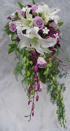 lavender roses wedding bouquets images | White stargazer lilies, lavender roses, purple and green dendrobium ...
