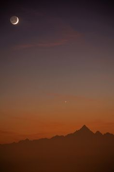 Moon and Venus over Monviso by Stefano De Rosa