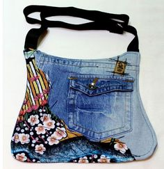 Fabric combined with old jeans. Interesting idea.