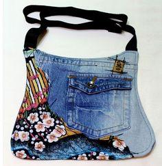 un sac fait à partir d'un jean, très réussi!