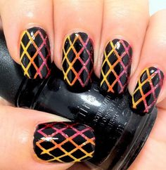 awesome criss cross pattern nails