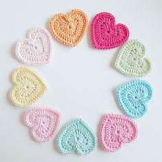 Crochet hearts - Gehaakte hartjes - gratis patroon - free pattern, Crochet, haken