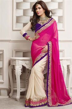 Deep Pink, Ivory Georgette Designer party wear saree