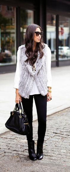 Street style fashion / karen cox. Winter Warm. Grey Faux Fur Vest   Leather Handbag / Best LoLus Street Fashion