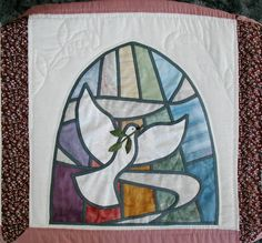 Dove of Peace - Stained Glass quilt block created to replace a damaged block in a Methodist Church quilt, ca ~1998 My original design; hand and machine pieced;  hand and machine appliqued