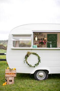 One Lovely Wagonfrom Fancy NZ Design Blog- mobile wedding bar caravan! http://www.onelovelyday.co.nz/one-little-wagon/
