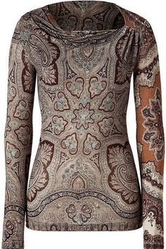 0ae48851bbbcd Etro Chocolate Mixed Print Jersey Top - ShopStyle Longsleeve