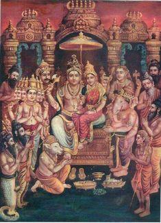 Shiva Parivar With bhakts/devotees From Swamiji's wall! Shiva Parvati Images, Lakshmi Images, Shiva Shakti, Shiva Art, Ganesha Art, Hindu Art, Krishna Art, Mysore Painting, Tanjore Painting