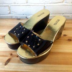 MICHEAL by MICHEAL KORS Women's Shoes ~ Black Platform Logo Mules ~ US 8.5 M #MichaelKors #PlatformsWedges