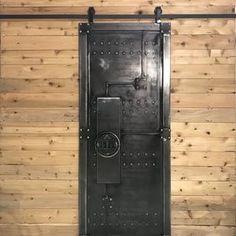 Industrial metal barn door | Etsy Barn Door Sliders, Vault Doors, Industrial Door, Industrial Furniture, Vintage Industrial, Expanded Metal, Metal Railings, Morris, Metal Barn