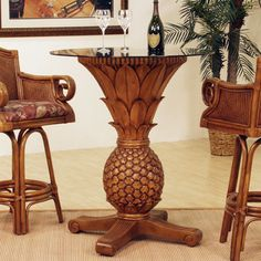 Ocean Reef Pineapple Dining Table With Glass Top Dining