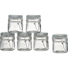 Set of 6 Mini Spice Jars with Clamp in Kitchen | Crate and Barrel