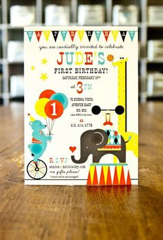 judes first birthday, circus themed letterpress invites. hello lucky.
