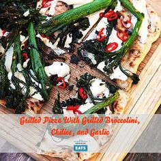 Broccolini or broccoli rabe with garlic and chilies is a classic flavor combination. In this recipe, I toss the broccolini in garlic oil before grilling it over hot coals, then apply it in whole pieces to the pie which also gets slices of fresh mozzarella and a scattering of fresh hot chilies.