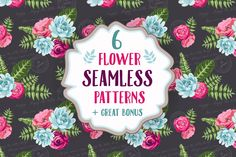Set of 6 seamless flower patterns by DaryaGribovskaya on Creative Market